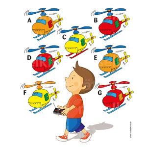 Zwei Hubschrauber sehen genau gleich aus.Kannst du sie finden?
