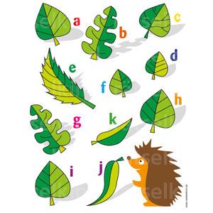 Kannst du dem kleinen Igel helfen,die drei gleichen Blätter zu finden?