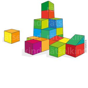 Titel: Würfelraten Frage: Wie viele Bausteine könnt ihr auf dem Bild entdecken? Und wie viele sieht man nicht? Auflösung : 16 Bausteine kann man erkennen; unter dem Turm müssen aber fünf weitere Würfelformen sein, sonst würde er ja zusammenkrachen.