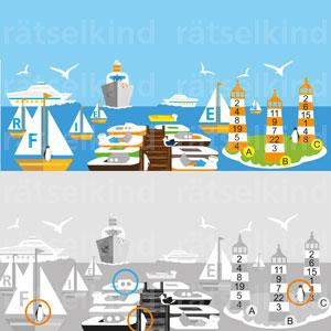 1. Drei Pinguine haben sich versteckt - findest du sie?2. Sortiere die Buchstaben in den Segelbooten von groß nach klein, dann erfährst du, worüber sich die Kinder freuen.3. Zähle die Zahlen in den Leuchttürmen zusammen. Welcher Turm hat die kleinste Summe.4. Finde im Hafen das Boot mit dem weißen Oberdeck, dem orangen Unterteil und zwei runden Fenstern?