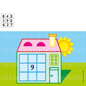 In allen Feldern muss eine Zahl von 1 - 9 stehen. Der Platz für die Zahl 9 ist schon vorgegeben. In den waagerechten und senkrechten Feldern muss die Summe immer 15 ergeben.