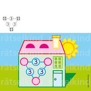 In die drei leeren Kreise soll überall die gleichezweistellige Zahl eingesetzt werden, sodass sich in jederLinie die Zahl 25 ergibt. Um welche Zahl handelt es sich?