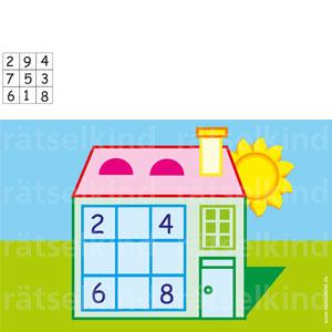 Titel: Zahlenhaus Frage: Kannst du die Zahlen von 1 bis 9 so verteilen, dass horizontal, vertikal und diagonal stets die gleiche Summe von 15 entsteht? Vier Zahlen sind schon vorgegeben! Auflösung : Lösungsbild 1. Reihe : 2, 9, 4 2. Reihe : 7, 5, 3 3. Reihe : 6, 1, 8