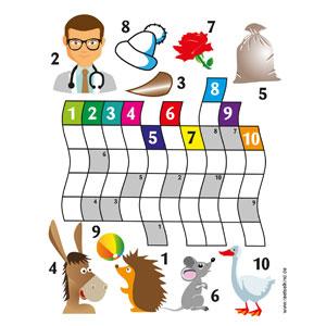 Trage die Begriffe in das Rätsel ein und setzte die Buchstaben in den grauen Feldern zu einem Wort zusammen. Auflösung: Igel, Arzt, Dorn, Esel, Sack, Maus, Rose, Muetze, Ball, Gans = kunterbunt