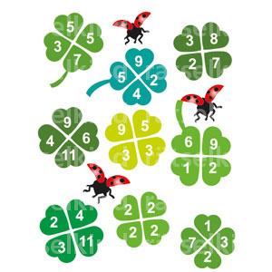 Titel: Glücksbringer Frage: Für jedes Kleeblatt, dessen Zahlen zusammen genau 20 ergeben, hast du einen Wunsch frei. Wie viele sind es? Auflösung: Bei fünf Kleeblättern ergibt die Summe der Zahlen genau 20.