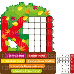 Titel: Buchstabe K Frage: Alle gesuchten Wörter fangen mit K an. Die Endbuchstaben der Wörter ergeben eine Jahreszeit. 1. Beruf am Herd 2. Holzbehälter 3. männliche Katze 4. geflochtener Behälter 5. liebevolle Lippenberührung 6. Gegenteil von warm Auflösung: 1. Koch, 2. Kiste, 3. Kater, 4. Korb, 5. Kuss, 6. kalt - HERBST