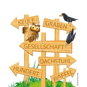 In diesen Wörtern haben sich Tiernamen versteckt. Kannst du sie finden? Auflösung: KEULE = EULE GRABEN = RABEN GESELLSCHAFT = ESEL UND SCHAF DACHSTUHL = DACHS HUNDERT = HUND WAFFEL = AFFE