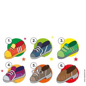 Der Schuh hat keinen Absatz, keine Schnürsenkel und der Schuh hat weniger als drei Streifen.Welcher Schuh ist gemeint?
