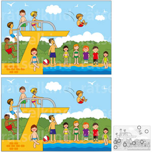 Titel: Finde die acht Fehler! Frage: Das obere Bild unterscheidet sich jeweils durch acht Veränderungen von dem Bild darunter. Welche sind es?