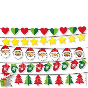 Titel: Weihnachtsgirlande Frage: In jeder Girlande hat sich ein Fehler eingeschlichen. Findest du die fünf Fehler?