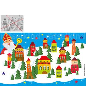 Frage: Der Nikolaus plant seine Besuche bei den Kindern. Kannst du ihm helfen, das Winterbild mit zwei geraden Strichen so in vier Felder aufzuteilen, dass in jedem Feld drei Häuser stehen?