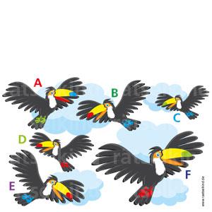 Titel: Zwei sind farblich gleich Frage: Zwei Vögel sehen farblich genau gleich aus. Kannst du sie finden? Auflösung: B und E