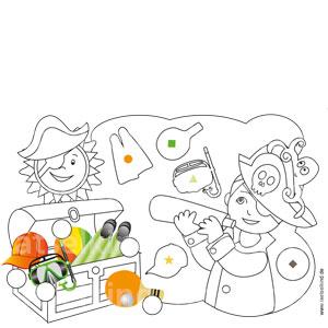In den Umrissen findest du Symbole. Diese Symbole kannst du in die Kreise an den bunten Bildern eintragen. Welcher Umriss passt zu welchem Bild? Auflösung: Schwimmflossen = Kreis, Taucherbrille = Dreieck, Kappe = Stern, Ping Pong = Quadrat, Ball = Raute