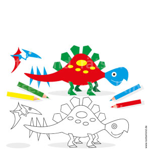 Kannst du die beiden Dinosaurier ausmalen? Tausche die Farben von den bunten Dinosauriern: aus rot wird grün, aus grün wird gelb und aus gelb wird blau.