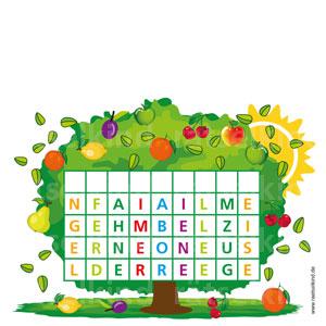 Finde jeweils den ersten Buchstabe der von oben nach unten zu lesenden Wörter. Dann kannst du in der ersten Reihe den Namen eines Baumes finden.