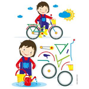 Das Fahrrad ist komplett zerlegt. Vergleiche die Einzelteile mit dem Fahrrad. Kannst du es wieder zusammensetzen oder fehlt ein Teil?