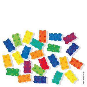 Zehn Bären kommen doppelt vor. Eine Farbe gibt es nur ein einziges Mal und eine andere Farbe gibt es gleich dreimal. Kannst du sie finden?