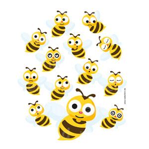 Welche kleine Biene schaut genauso freundlich, wie die große Biene in der Mitte?