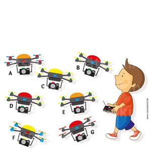 Zwei Drohnen sehen genau gleich aus.Kannst du sie finden?