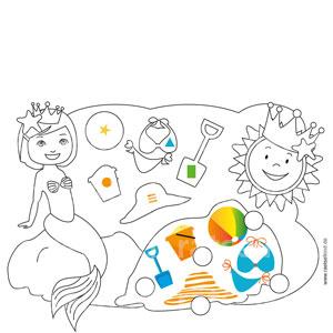 In den Umrissen findest du Symbole. Diese Symbole kannst du in die Kreise an den bunten Bildern eintragen. Welcher Umriss passt zu welchem Bild?