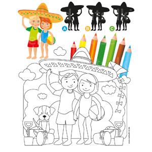 Welcher Schatten passt zu den beiden Kindern? Wenn du Lust hast, dann male das Bild aus.