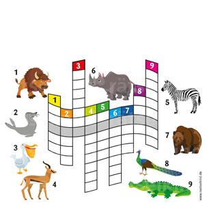 Trage die Begriffe in das Rätselgitter ein, dann findest du das Lösungswort in der mittleren Zeile und du erfährst, was die Tiere mögen!