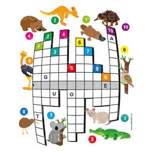 Trage die Begriffe in das Gitter ein, dann findest du das Lösungswort in der mittleren Zeile und du erfährst, wo die Tiere wohnen!