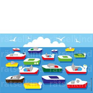 Finde bunte Boote im Hafen