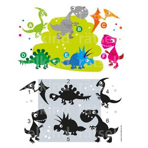 Bunte Dinosaurier den Schatten zuordnen