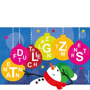 Bunte Weihnachtskugeln mit Buchstaben