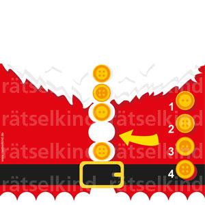 Weihnachtsmann Mantel Knöpfe Logikrätsel