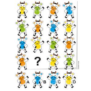 Logikrätsel für Kinder Kühe bunte