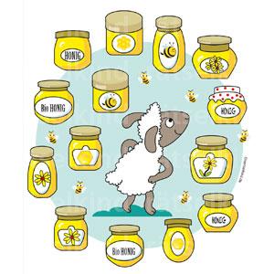 Zwei sind gleich Honig Honiggläser und Honigbienen