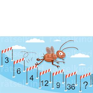 Lustiges Rätsel mit witzigem Insekt im Hürdenlauf