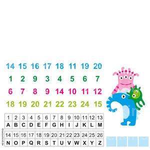Sortiere die Buchstaben und finde den Fehler in der Zahlenreihe