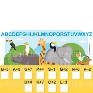 Kinderrätsel Tierpark Alphabeth