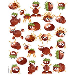 Herbsträtsel für Kinder mit kleinen Kastanienmännchen