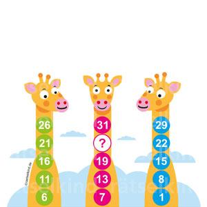 Zoorätsel Kinder Giraffen Zahlenturm