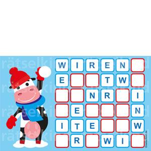 Winterrätsel für Kinder mit Sudoku
