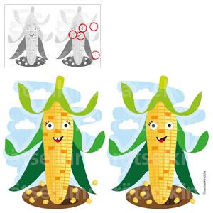 Fehlersuchbild Unterschiede Mais Maiskolbe