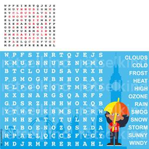 Kinderrätsel Gitterrätsel Buchstabensalat Englische Wetterwörter