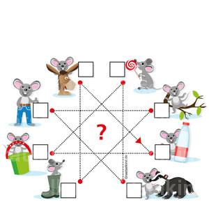 Grundschulrätsel mit Buchstaben und Maus und Feldhase