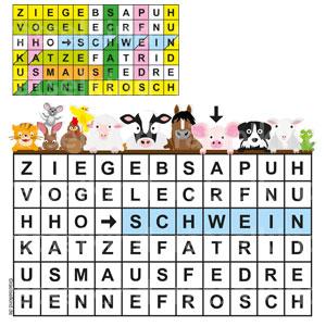 Tierrätsel Grundschule Schüler Bauernhof Rätsegitter