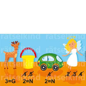 Rebus rätsel für Kinder Regenmantel